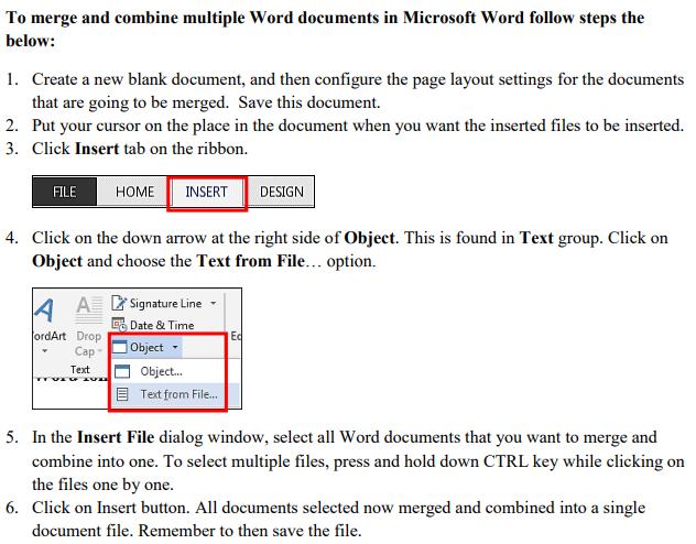 MSWORD Combine Files